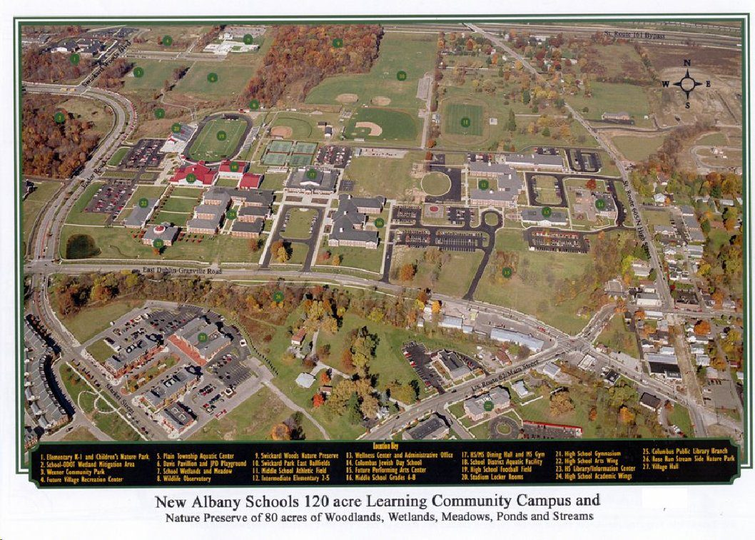 aerial photograph and map of campus